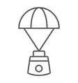 capsule parachute thin line icon space vector image vector image