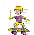 cartoon boy riding a skateboard while holding a si vector image vector image