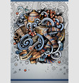 cartoon hand drawn doodles winter poster design vector image vector image
