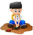 cartoon little boy playing tank vector image vector image
