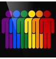 Color logotype six man LGBT movement rainbow flag vector image