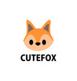 cute fox flat logo icon vector image vector image