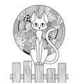 doodle coloring book page cat and moon antistress vector image vector image