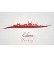 Edirne skyline in red vector image vector image