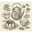 Food dessert drinks Hand drawn teapot tea vector image