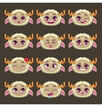 Funny cartoon beige girl monster emotions set vector image