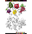 funny fruits cartoon coloring page vector image vector image