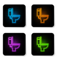 glowing neon toilet bowl icon isolated on white vector image