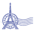 Grunge round stamp with Eiffel Tower vector image vector image