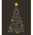 hand drawn christmas greeting card abstract vector image vector image