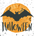 Happy halloween grunge emblem with a bat vector image vector image
