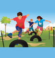 kids competing in a obstacle running course vector image vector image