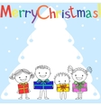 Kids with gifts near Christmas tree vector image vector image