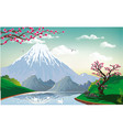landscape - sakura on the river bank vector image vector image
