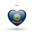 Love Idaho state symbol Heart flag icon vector image vector image