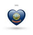 Love Idaho state symbol Heart flag icon vector image