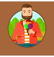 Man eating ice cream vector image vector image