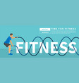 men with battle rope exercise in the fitness text vector image vector image