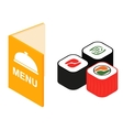 Menu and sushi isometric 3d icon vector image