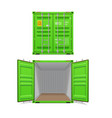 realistic set bright green cargo containers vector image vector image