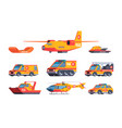 rescue cars accident transport lifeguard service vector image