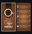 restaurant cafe menu coffee menu vector image
