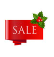 sale christmas banner with holly berry vector image vector image