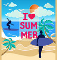 sea sun and surfers silhouettes on the beach vector image