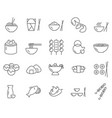 set asian food line icons