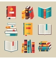 set book icons in flat design style vector image