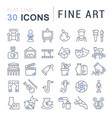 set line icons fine art vector image vector image