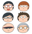 set of cartoon face with glasses vector image vector image