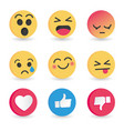 set of emoticon social media reactions vector image