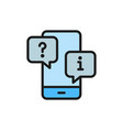 smartphone with chat cloud faq and answers flat vector image