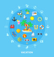 summer travel icons composition vector image vector image
