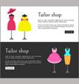 tailor shop web pages set vector image
