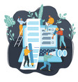 teamworks process tiny people and big laptop vector image