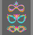 three bright masquerade masks over white vector image