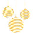 three golden new years toys in striped vector image vector image