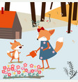 vintage cute spring summer baby fox and mom vector image vector image
