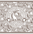 vintage orange label on seamless pattern vector image vector image