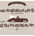 wedding invitation bride and groom in car vector image