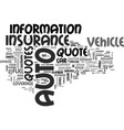 what you need to get an auto insurance quote text vector image vector image