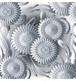 white 3d flowers seamless pattern light vector image