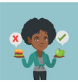 woman choosing between hamburger and cupcake vector image vector image