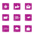 zip code icons set grunge style vector image