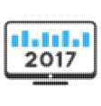 2017 chart monitoring halftone icon vector image vector image