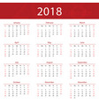 2018 calendar popular red premium for business vector image vector image
