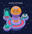 alien cottage isometric composition vector image vector image
