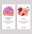 amusement park and circus tent and ferris wheel vector image